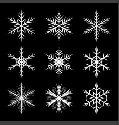 snowflake set silhouette symbol icon design vector image