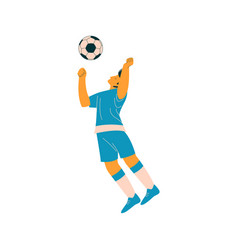 soccer player with ball male footballer character vector image