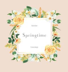 Spring frame advertising fresh flowers promote vector