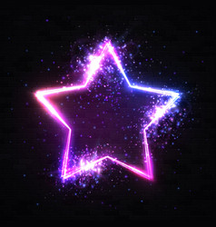 stars background on black brick wall neon sign vector image