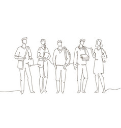 Students - one line design style vector