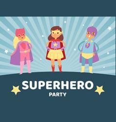 superhero kids in costumes party vector image