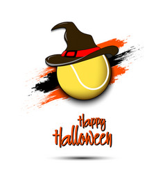 Tennis ball with witch hat and happy hallowen vector
