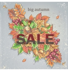 Texture autumn theme with isolated elements vector