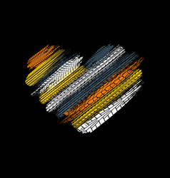 tire tracks black heart vector image