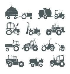 Tractors icon set vector