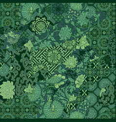 traditional chinese fabric patchwork wallpaper vector image