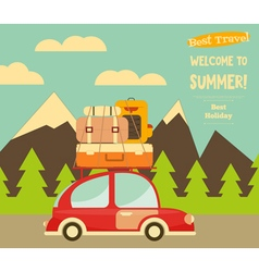 Travel Car Mountain Landscape vector image