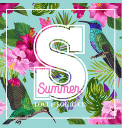 tropical summer floral poster with hummingbird vector image