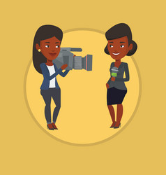 tv reporter and operator vector image