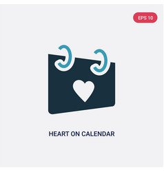 Two color heart on calendar icon from user vector