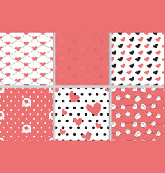 valentine heart seamless pattern collection in vector image