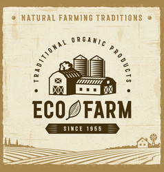 Vintage eco farm label vector