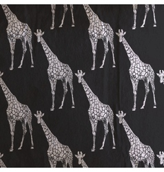 Vintage of giraffe pattern on the old black vector