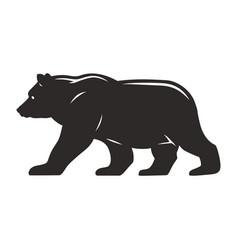 vintage walking bear silhouette concept vector image