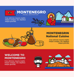 welcome to montenegro posters with national vector image