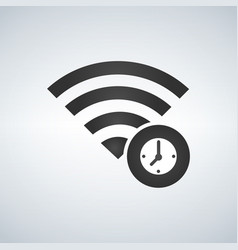 wifi connection signal icon with clock or time in vector image
