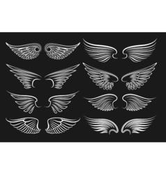 Wings emblem black elements angels and birds vector