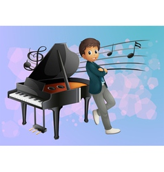 A piano at the back of the musician vector image vector image