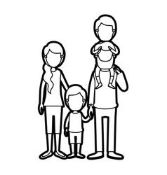 caricature thick contour faceless family parents vector image vector image
