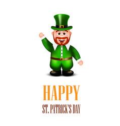 Happy leprechaun waving hand saint patricks day vector