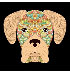 Head of dog on black background vector