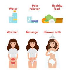 Menstrual pain icons set period treatment concept vector