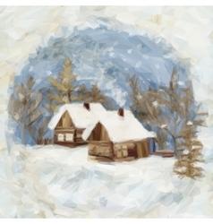 Christmas Landscape Village Houses vector image