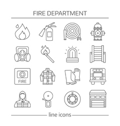 Fire department linear icons set vector