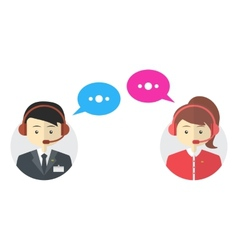 Male and female call center avatar icons vector