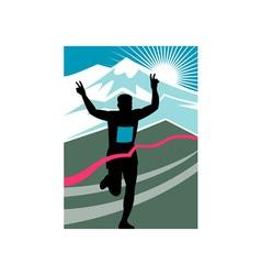 marathon runner finish line vector image