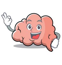 okay brain character cartoon mascot vector image