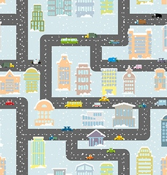 Snowfall in city seamless pattern Urban map of vector image vector image