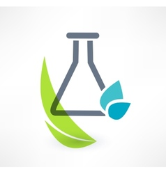 Test tube with leaf icon Concept of organic vector image vector image