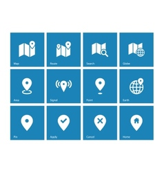 Map icons on blue background GPS and Navigation vector image vector image