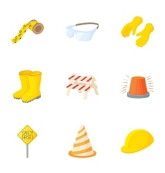 Repair of asphalt roads icons set cartoon style vector image vector image