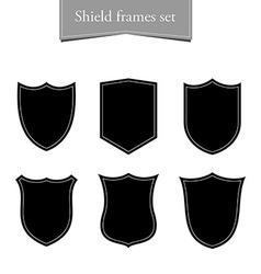 Shield logo backgrounds set Black frame vector image