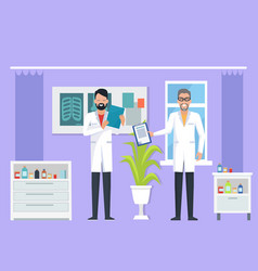 doctors at room on purple vector image