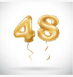 golden number 48 forty eight metallic balloon vector image