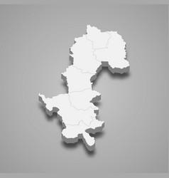 3d map mae hong son is a province thailand vector