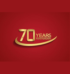70 years anniversary logo style with swoosh vector