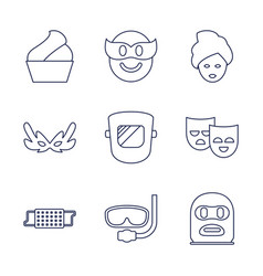 9 mask icons vector