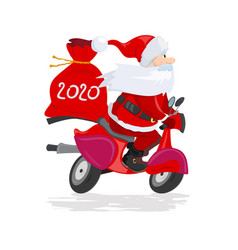 A modern santa claus rides a red scooter with a vector