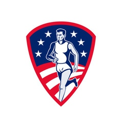 American Marathon athlete sports runner shield vector image