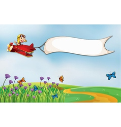 An empty white banner carried by a plane vector image