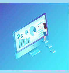 Analyst with computer monitor vector