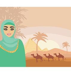 Arabian woman in desert vector