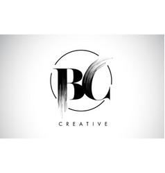 Bc brush stroke letter logo design black paint vector