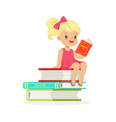 beautiful blonde girl in pink dress reading a on vector image