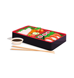Bento japanese lunch box vector